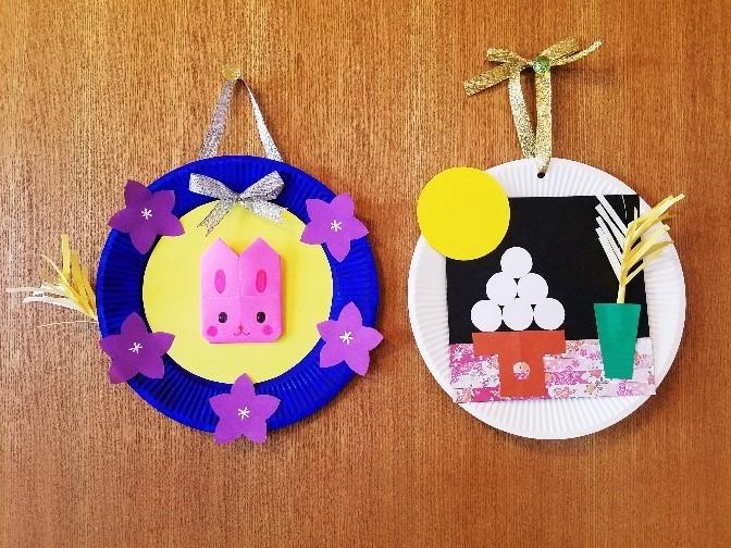 9月の壁画_紙皿で作るお月見_壁飾り