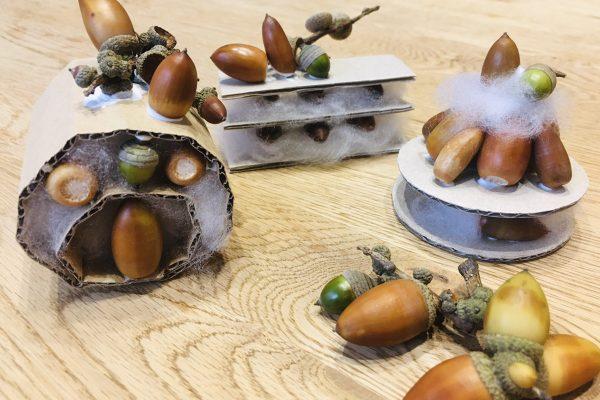 【秋の製作】どんぐりと段ボールを使ってケーキを作ろう! イメージ
