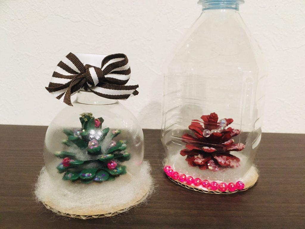 【冬の制作】まつぼっくりクリスマスツリーのスノードーム