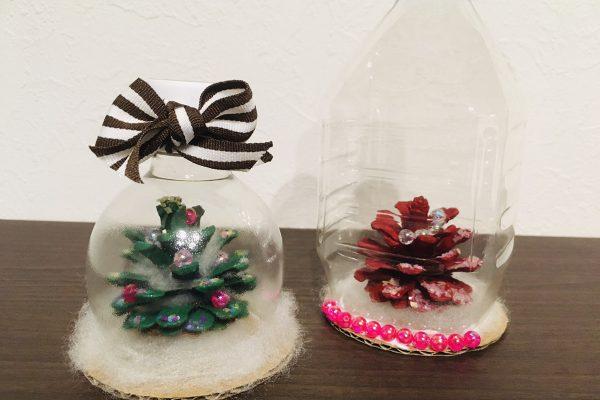 保育園 12月 冬の製作 まつぼっくりクリスマスツリーのスノードーム イメージ