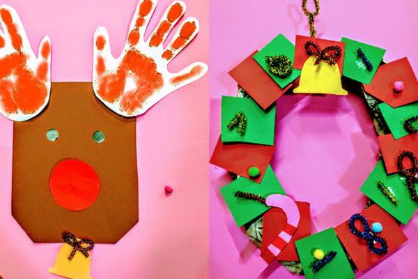 保育園 12月 冬の製作 クリスマス(トナカイ・リース・スノードーム) イメージ
