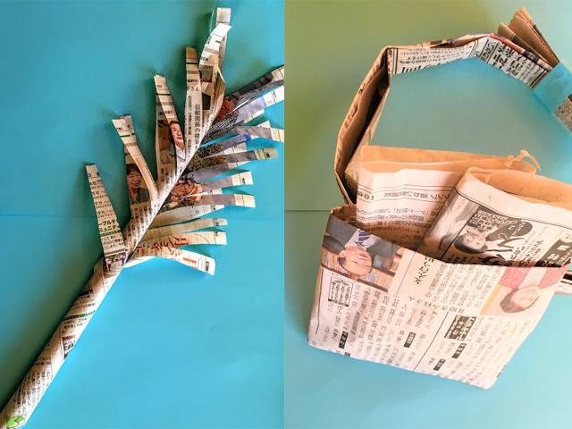 保育園 12月のあそび 新聞を使った大掃除・12月の製作 みかん