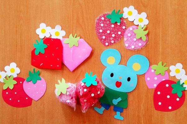 5月製作・いちごアイデア5選!年少でも折れる簡単折り紙いちごや丸シール・お花紙などを使って作ろう イメージ