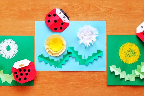 製作タンポポアイデア3種・簡単折り紙てんとう虫|フォーク・トイレットペーパーの芯・一回切りでタンポポを作ろう イメージ