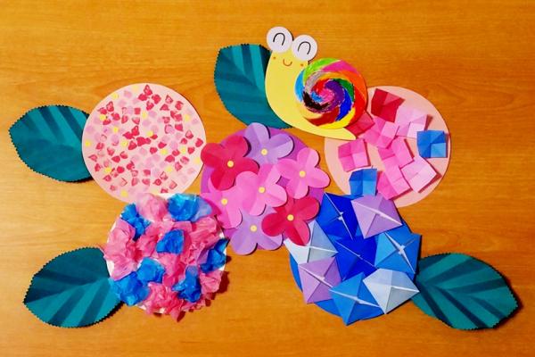 6月製作あじさいアイデア5種|簡単な折り方2種・切り紙・お花紙・スポンジスタンプ イメージ
