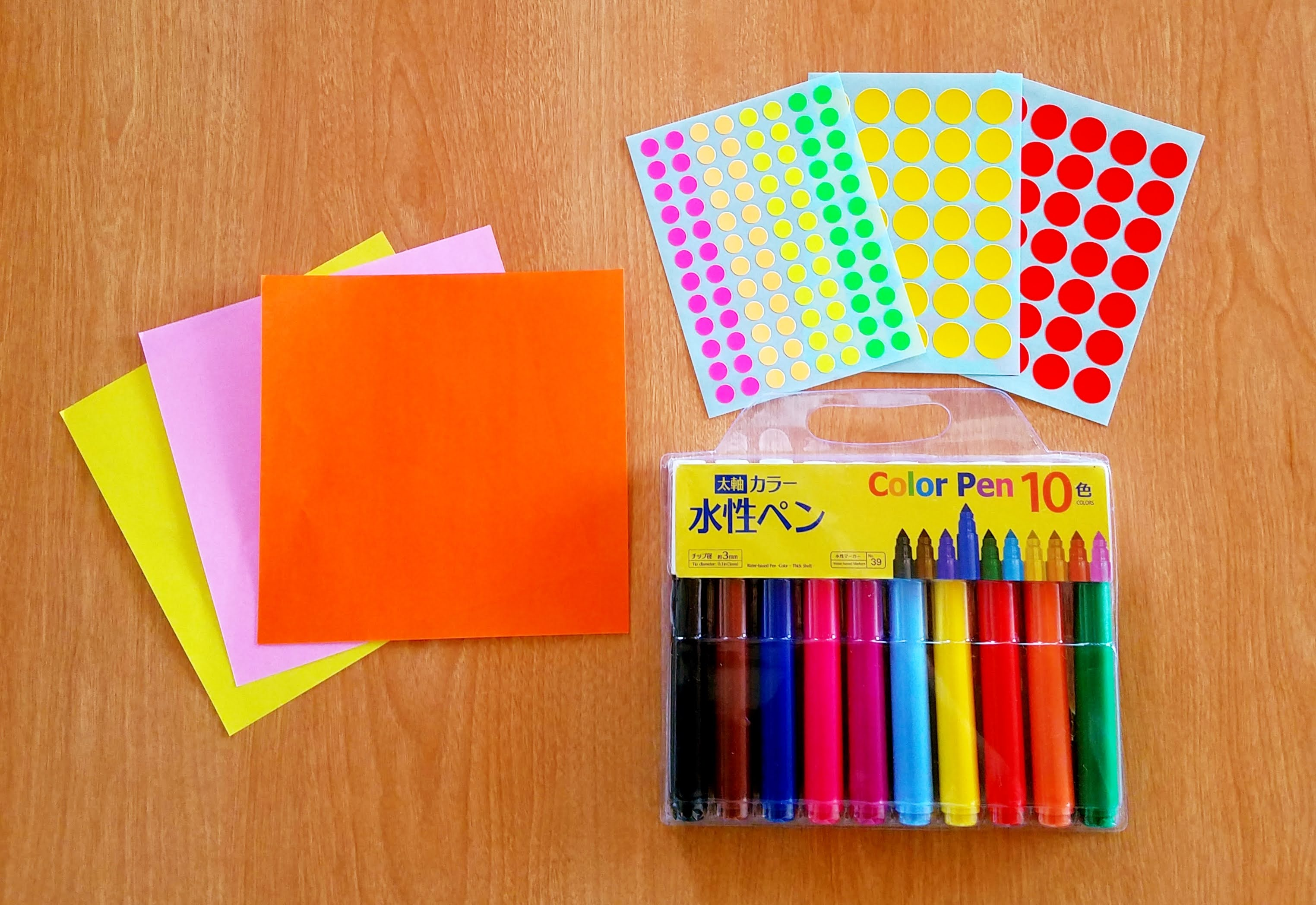 5歳児の折り紙きのこ‗丸シール‗マジック