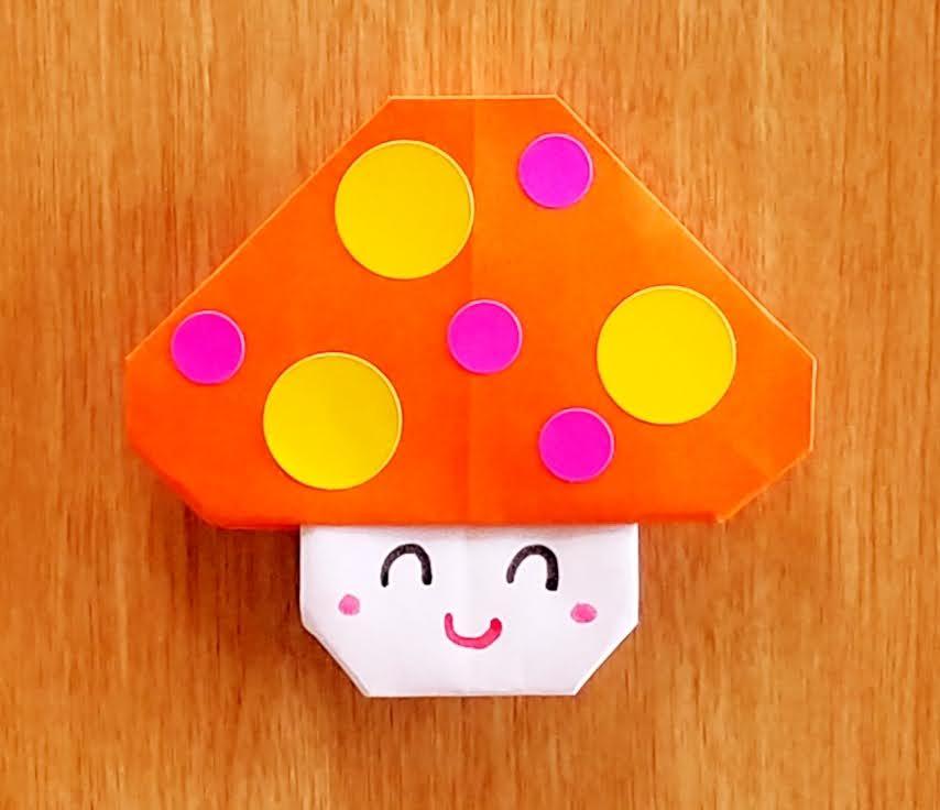 5歳児の折り紙きのこ‗丸シール