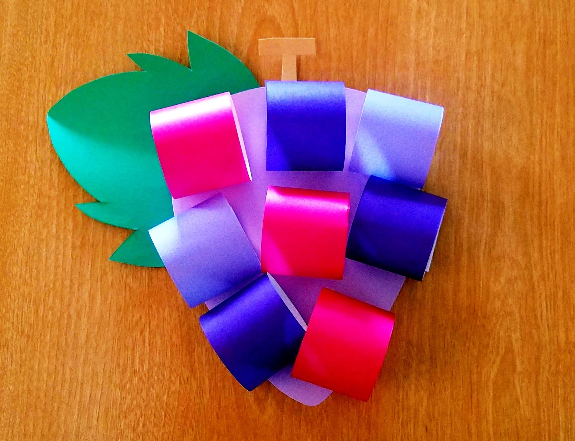 10月製作折り紙で作るぶどう‗年少