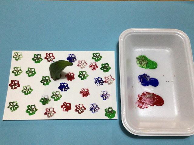 3歳児、4歳児の野菜スタンプ製作で作るイカ