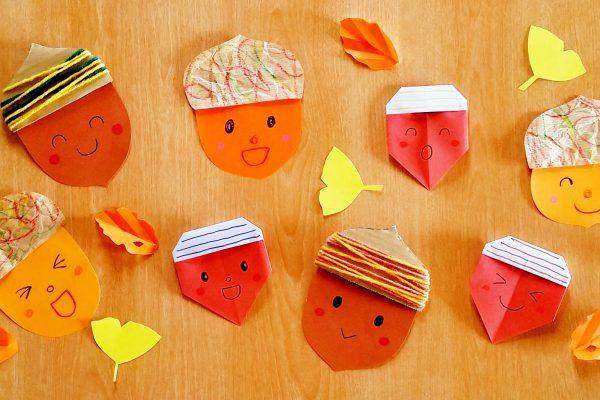 保育園 11月製作 どんぐりアイデア3種! 簡単折り紙・毛糸・クラフト紙でかわいく作ろう イメージ