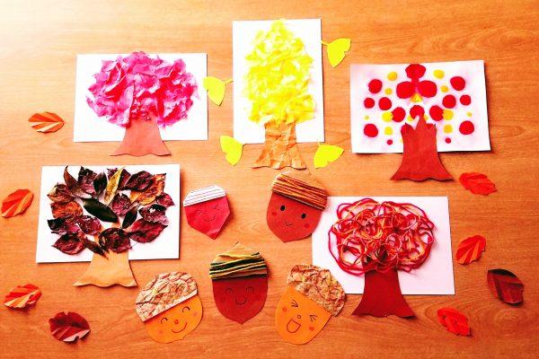 保育園 11月製作「紅葉」落ち葉・毛糸・お花紙・デカルコマニーで秋の紅葉を楽しもう イメージ